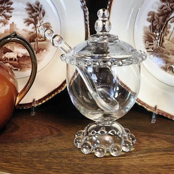 Vintage Crystal Marmalade Elegant Hollywood Home Decor 1940s Imperial Candlewick Glassware Serving Condiment Wedding Shower Gift