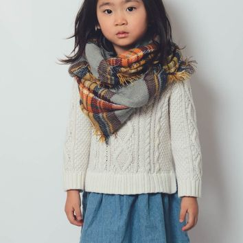 Girls Plaid Blanket Scarf - Gray