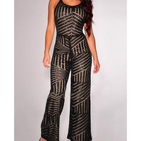 Women's Spaghetti Strap Backless Sequined Jumpsuit