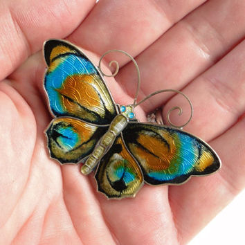 David Andersen Butterfly brooch. Enamel Sterling 925s Norway Guilloche, large Retro pin