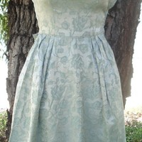 Vintage 50s 60s SAGE GREEN Floral BROCADE Cocktail Party Dress Prom BOW XS 32B