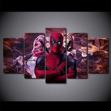 5 piece canvas Deadpool Harley Quinn canvas panel wall art decor print picture