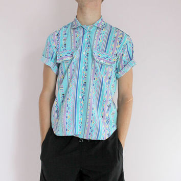 Mens Unisex Rasta 90s Blue Tribal Pattern Button Down