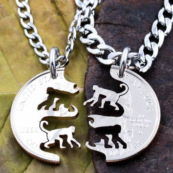 Monkeys Necklace Set, Chimp Friendship Jewelry, Handmade Coin by Namecoins