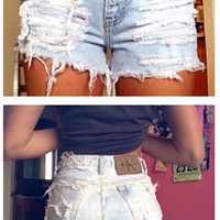 The first pair, bleached distressed high waisted shorts