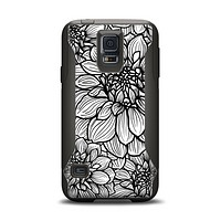 The White and Black Flower Illustration Samsung Galaxy S5 Otterbox Commuter Case Skin Set