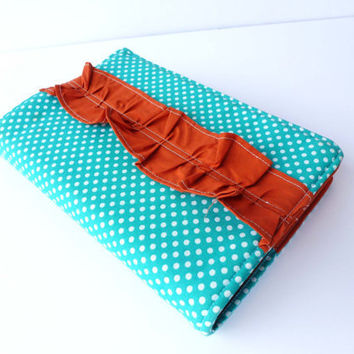 Turquoise/White Polka Dot and Orange Ruffle Bible Cover- Made to Order