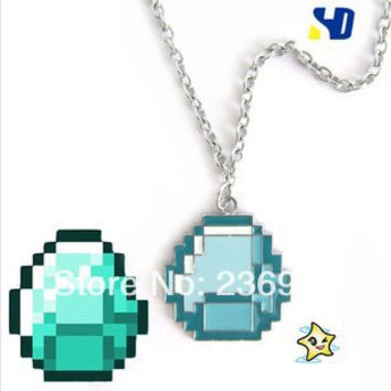 Fashion Jewelry New boys girls Minecraft JJ My world Green strange coolie face Pendant Necklace Great navidad