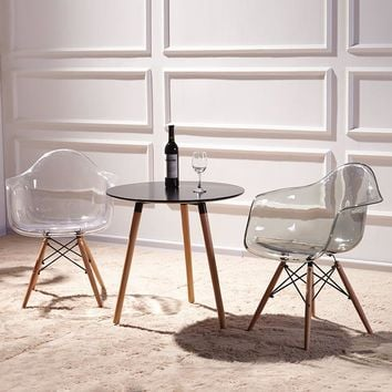 Set of 2 Modern Transparent Armchair and Natural Wood Legs Eiffel - Free Shipping