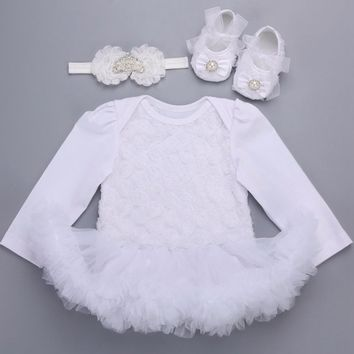 3 PCS Baby Set Christening Dress Newborn Baby Girl Clothes Autumn;2017 Long Sleeve White Infant Baby Dress Wedding Party 1 Year