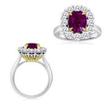 Blount Jewels 4.86 Ct Ruby And Diamond Ring (rd 1.34ct, Rb 3.52ct)