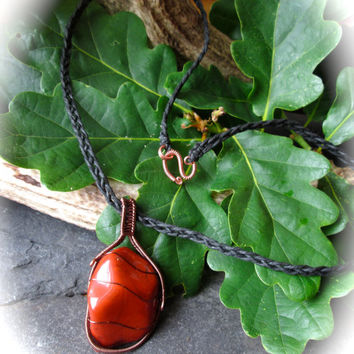 Red Jasper Necklace Wire Wrapped Vintage Copper, Tumbled Gemstone, Cobra Bail, Fire Eco-Friendly Wicca Shaman Pagan Talisman