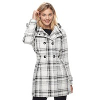 Juniors' IZ Byer Double Breasted Hooded Coat | null