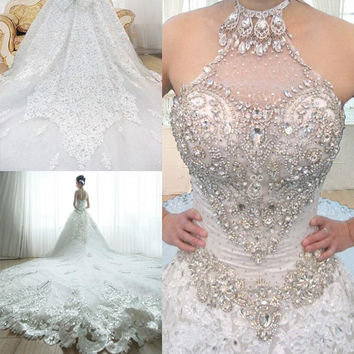Luxury Royal train Crystal Wedding Dress with Beading Rhinestone Backless Appliques Lace Wedding Gown