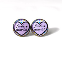 Fearless Feminist Stud Earrings - Anti Valentine's Day Jewelry - Pastel Goth Insult Heart Pop Culture Jewelry