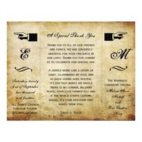 Gatefold Vintage Ticket Style Wedding Program Flyer