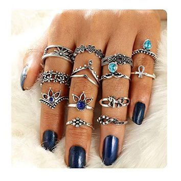 Gudukt Knuckle Ring Set Vintage Silver Crown Unicorn Elephant Yoga Wave Religious Joint Knuckle Rings