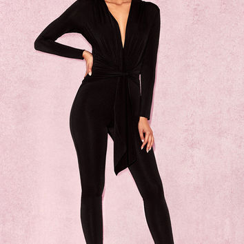 Clothing : Jumpsuits : Marcienne' Black Silky Jersey Wrap Jumpsuit