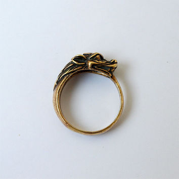 Chinese Dragon Ring Metal Brass Casting Size 8,5