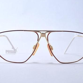 vintage 80s amazing german puma gold tone fuxia purple metal aviator frames  number 1