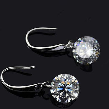 New Womens Swarovski Drill Sterling Silver Drop Earrings +Necklace