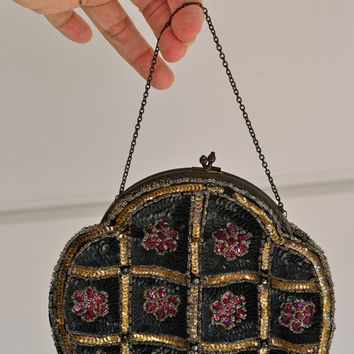 French Beaded Purse Vintage Black Beaded Purse