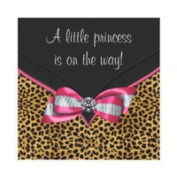 Pink Leopard Princess Baby Shower Personalized Invitation from Zazzle.com