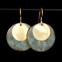 Patinaed brass earrings - verdigris double rounds