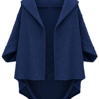 Blue Batwing Sleeve Cape Coat - Choies.com