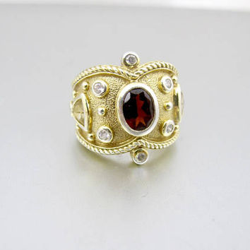 Byzantine Style Ring. Gemstone 22K Gold Plated Sterling Silver Etruscan Ring. Cigar Band Ring.