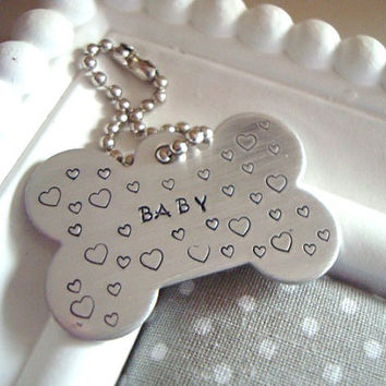 Name Of Your Choice Hand Stamped Dog Bone With Lots Of Hearts Keychain Made To Order