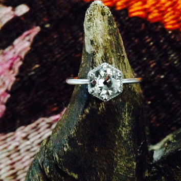 Custom Deco Hexagon Mine Cut Diamond Engagement Ring