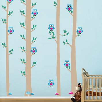 cik1675 Full Color Wall decal bedroom children's Custom Baby Nursery tree nusery decal tree forest owl birds baby boy