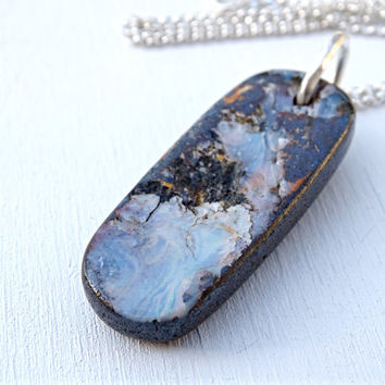 big boulder opal pendant silver, natural opal necklace silver, mens opal necklace, mens crystal pendant, Australian opal October birthstone