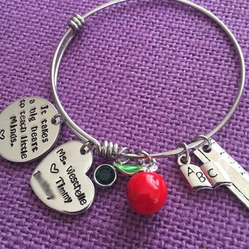 Personalized Teacher Bracelet - Teacher Gift - Teacher Jewelry - Teaching Charm Bracelet - Teacher Appreciation - Teacher Thank you