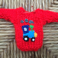 Custom Tractor Ornament, Tiny Xmas Sweater Ornament for the Tractor Lover, Knitted Ornaments, Farm Ornament, Farmer Gift, Country Christmas