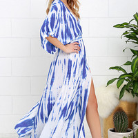Sunday Morning Blue Tie-Dye Wrap Maxi Dress