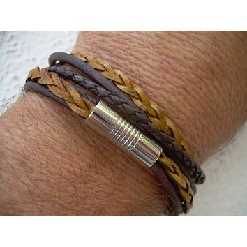 Mens Bracelets Leather, Antique Brown and Natural Braid, Double Wrap,Stainless Steel Magnetic Clasp, Mens Bracelet, Mens Jewelry