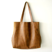 Brown leather tote, Women shoulder bag