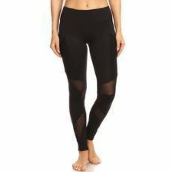 Black Solid and Mesh Design Black Gym Workout Leggings