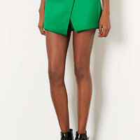GREEN LUXE SATIN WRAP SKORT
