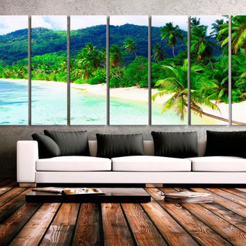 "XXLARGE 30""x 96"" 8 Panels Art Canvas Print Beach Palms Sea Mountains Relax Wall Home Decor interior (Included framed 1.5"" depth)"