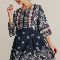 Floral Navy Dress with Mini Back Cutout