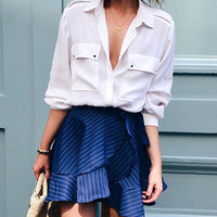 Navy Striped Lace Up Ruffle Mini Skirt