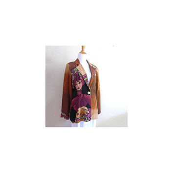 Vintage Painted Silk Jacket Artisan Daskal Printed Silk Blazer 90s Clothing Large Print Womens Blazer Bold Print Wearable Art to Wear