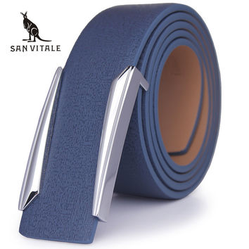 new Designer solid brass buckle belt for men belts luxury top quality full grain 100% genuine leather fashion casual