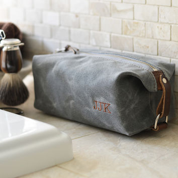 NO. 339 Personalized Compact Dopp Kit, Slate Gray Waxed Canvas