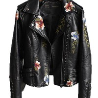 Floral Embroidery Leatherette Moto Jacket - Black