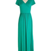 ModCloth Long Short Sleeves Maxi Botanical Lunch Dress in Jade