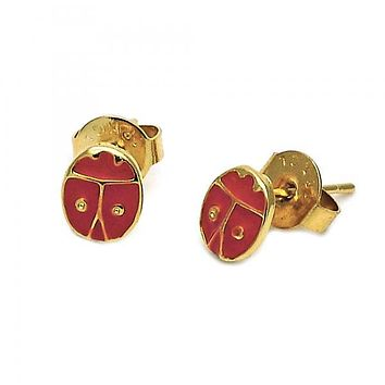 Gold Layered 02.64.0309 Stud Earring, Ladybug Design, Red Enamel Finish, Gold Tone
